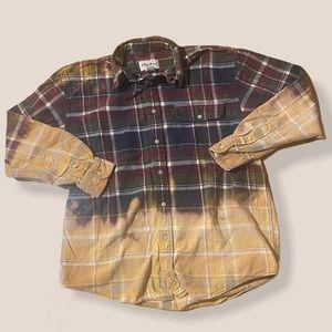 EDDIE BAUER Distressed flannel button shirt medium